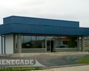 steel building metal building, mansard, storefront glass