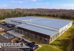 Industrial steel building, crane, mezzanine, office building