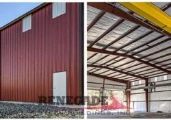 Industrial steel building with crane