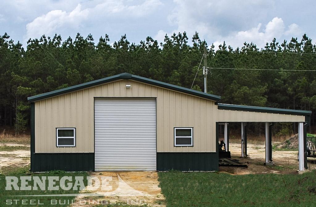 tan steel building with green trim, green wainscot, open lean to, large door, windows