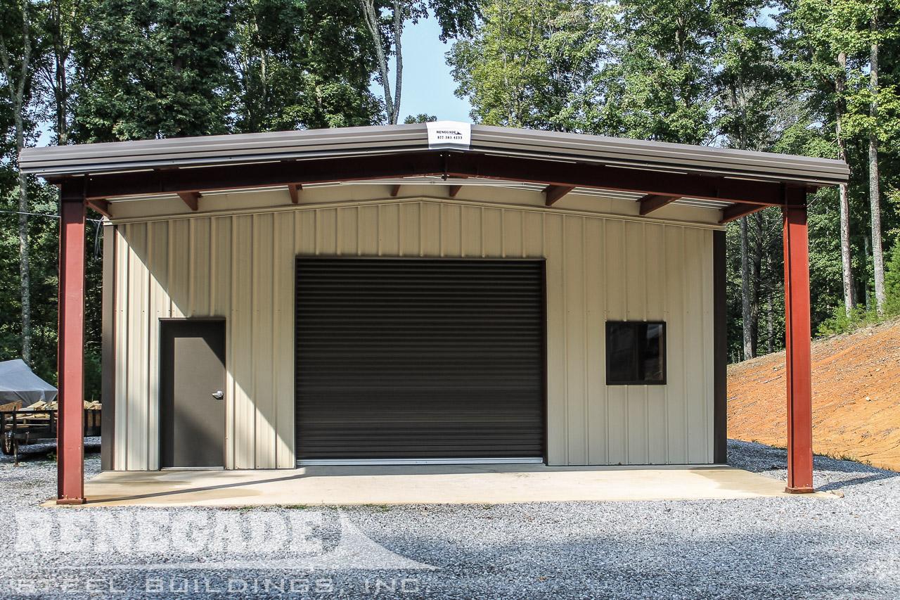 tan steel metal building with brown bronze trim, brown rollup door, open bay