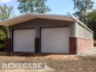 steel building, brick wainscot, large roll up doors