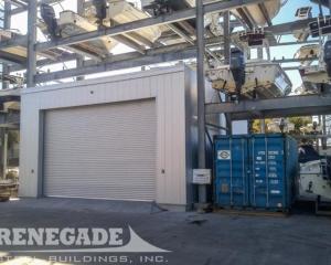Single Slope steel metal building, silver, roll up door for boat tool storage