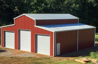 Agricultural steel building red barn metal building