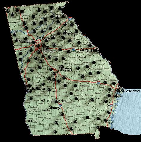 georgia map of Renegade Steel buildings