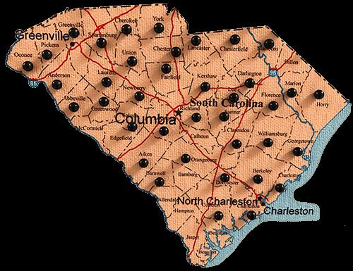 South Carolina map of Renegade Steel buildings