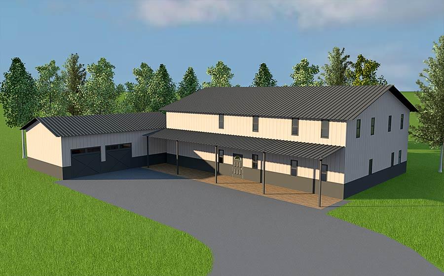 steel building home illustration