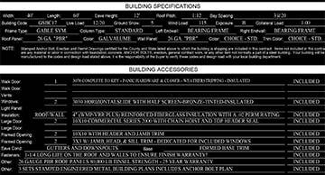 Steel building quote accessories sheet