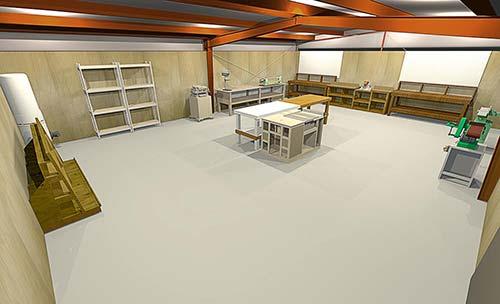 30x40 wood working workshop layout illustration