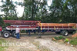 40x60 steel building loaded on truck