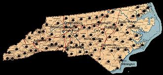 North Carolina map of Renegade Steel buildings