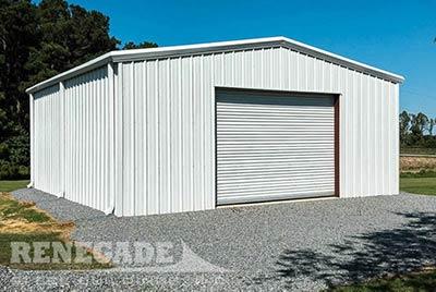 All White Steel Building Garage