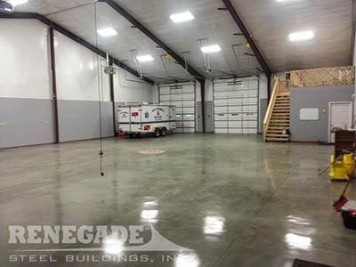 Steel building fire station garage interior