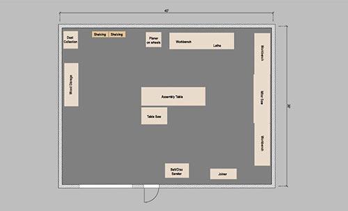 30x40 wood working workshop layout