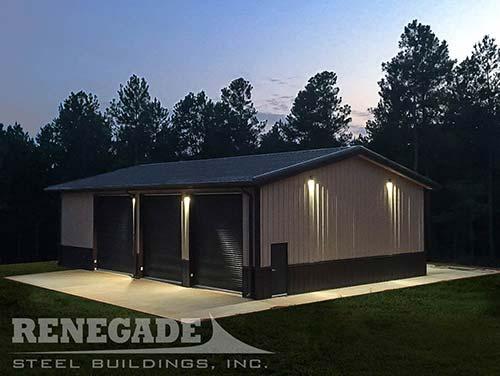 40x60 metal building at night