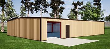 40x60x10 steel building illustration with tan walls