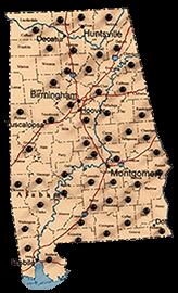 Alabama map of Renegade Steel buildings