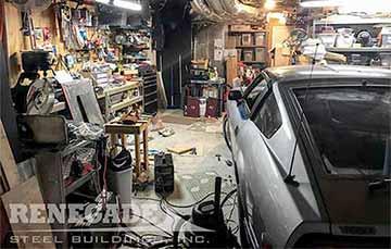 cluttered up basement workshop