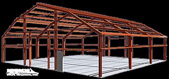 Gambrel Steel Building framing illustration