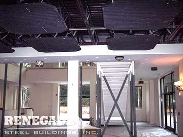 steel building mezzanine under stairs