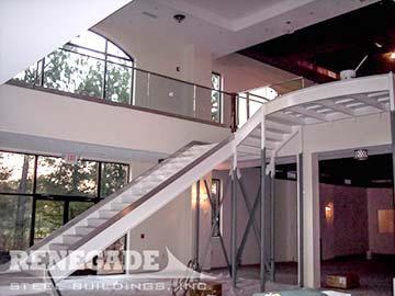 steel building interior stairs