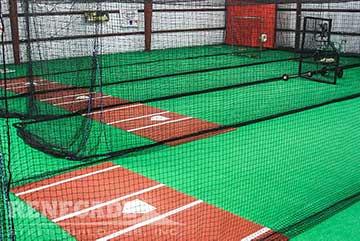 Steel building batting cages interior