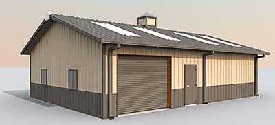 steel building 3d sketch showing options