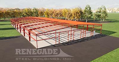 100x200x14 steel building red iron framing illustration
