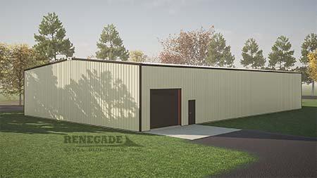 60x100x16 steel building with tan walls illustration