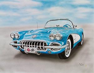 McPhailart.com painting blue corvette