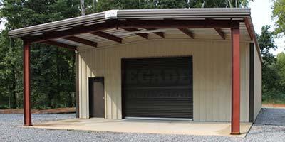30x55 Tan Steel Building workshop with open bay, large roll up door