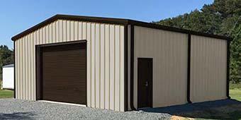 30x30 Tan steel storage building with brown trim