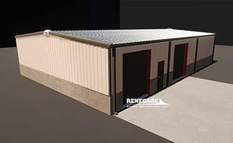 Renegade steel buildings tan with brick wainscot illustration