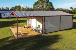 steel building open bay, large roll up door, walk door