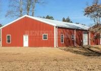 40x80x12 Renegade Steel Building with red walls, white trim, large roll up door, windows and walk door