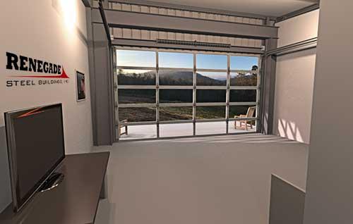 steel building cabin illustration