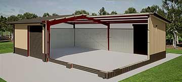 40x60x16 steel building cutaway illustration