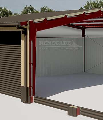40x60x16 steel building cutaway illustration closeup of sidewall