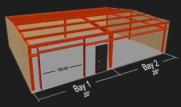 30x40x10 bay spacing illustration