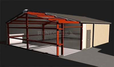 pre engineered red iron steel building cutaway illustration