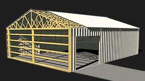 wood frame pole barn illustration with cut away