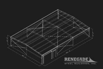 40x60x10 steel building 3d sketch