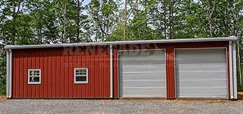 basic steel building barndominium red with white trim